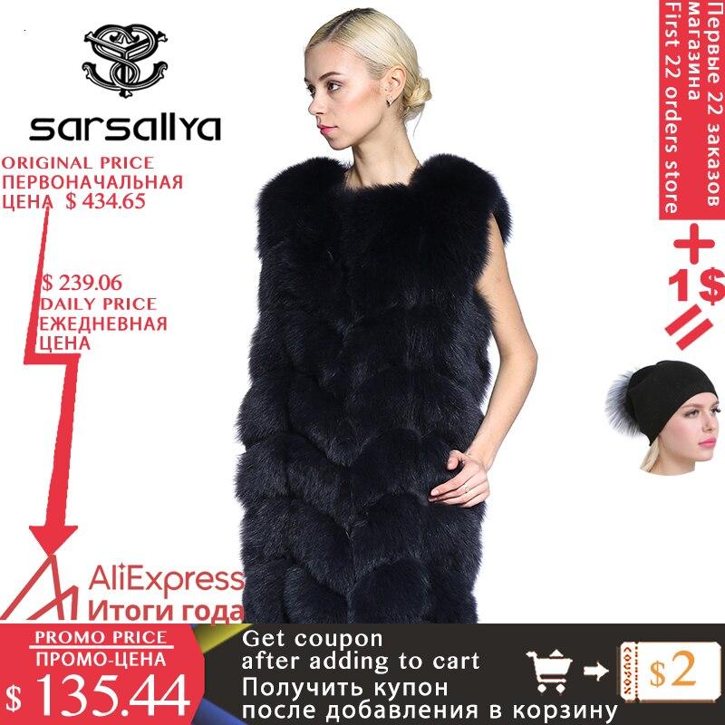 Fur Vest Women Winter Fox Fur Vest Long Real Fur Vest Square Sleeveless Coat Female Clothes Casual Sleeveless 2019 New Plus Size