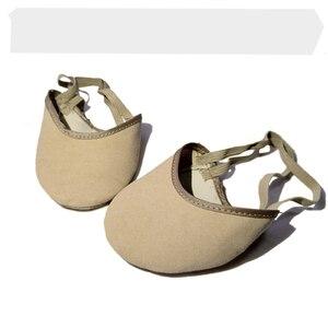 Girls Women Rhythmic Gymnastics Toe Shoes Soft PU Half Knitted Socks Art Ballroom Accessories Elastic Dance Feet Protection Shoe