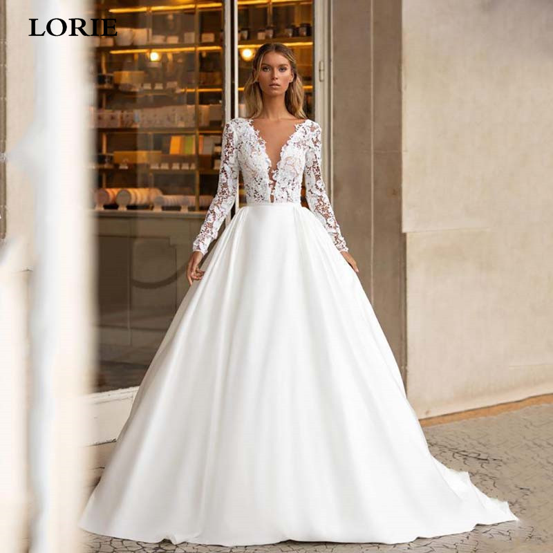 LORIE Long Sleeve Satin Wedding Dresses Elegant Lace Appliques Backless Boho Bridal Gowns Sexy V Neck Beach Wedding Gowns