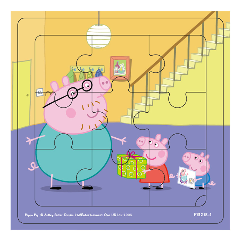 Peppa Pig Kids Wooden Puzzles Toys Kid's Babies Early Education Puzzle Figure Toys Jigsaw Puzzle Gifts Toys For Children 14*14cm