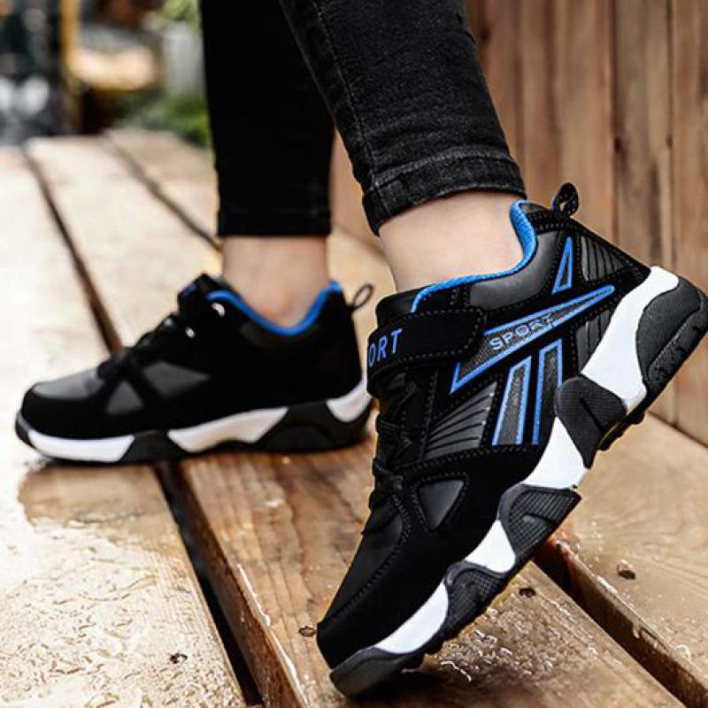 2020 Autumn Children Sports Shoes Boys Breathable Running Sneakers Kids Outside Travelling Leather Shoes Size 28 To Size 40