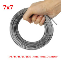 New 1/5/10/15/20/25M 304 Stainless Steel Wire Rope Soft Fishing Lifting Cable 7*7 Clothesline 3mm 4mm Diameter