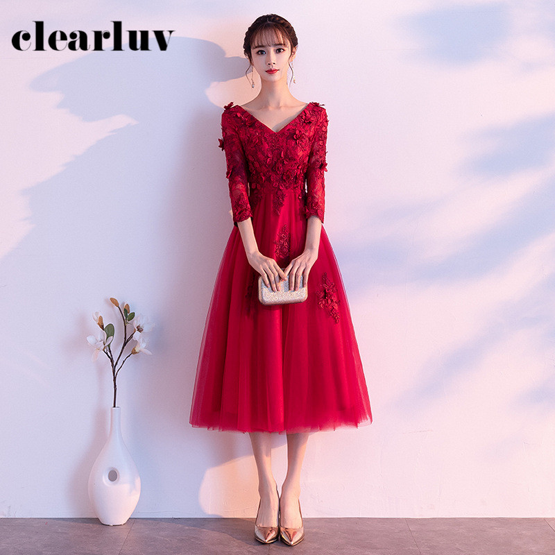 V-Neck Evening Dresses R218 Appliques Women Party Gowns Burgundy A-Line Vestidos De Fiesta Crepe Floor-Length Formal Dress
