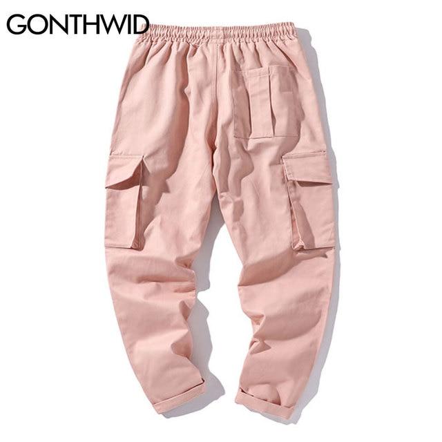 Hip Hop Streetwear Casual Men Multi Pockets Ribbons Jogger Harem Cargo Fashion Pants Harajuku Loose Trousers Male
