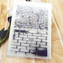 11*16cm venda quente parede de tijolos selo transparente selo transparente selo de silicone selo de rolo diy scrapbook álbum/cartão produção