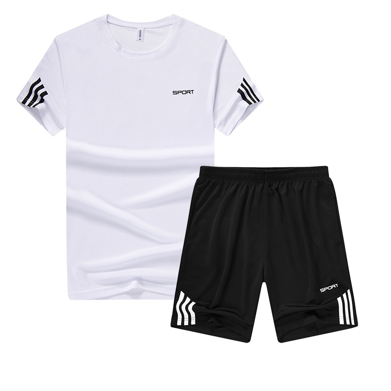 2018 Summer MEN'S T-shirts Two-Piece Casual Short Sleeve Shorts Two-Piece Set New Style Printed Teenager Set Batch
