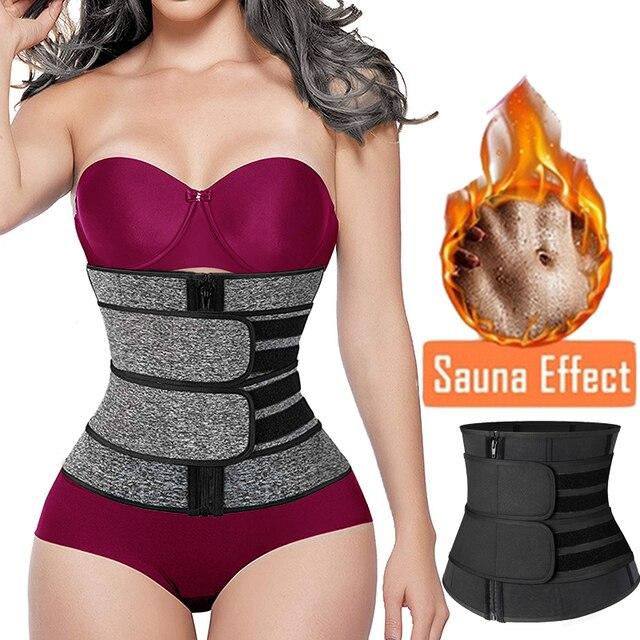 Kadınlar Shapewear İnce kemer fermuar artı boyutu lateks bel eğitmen korse Underbust vücut Fajas ter bel Cincher kilo kaybı