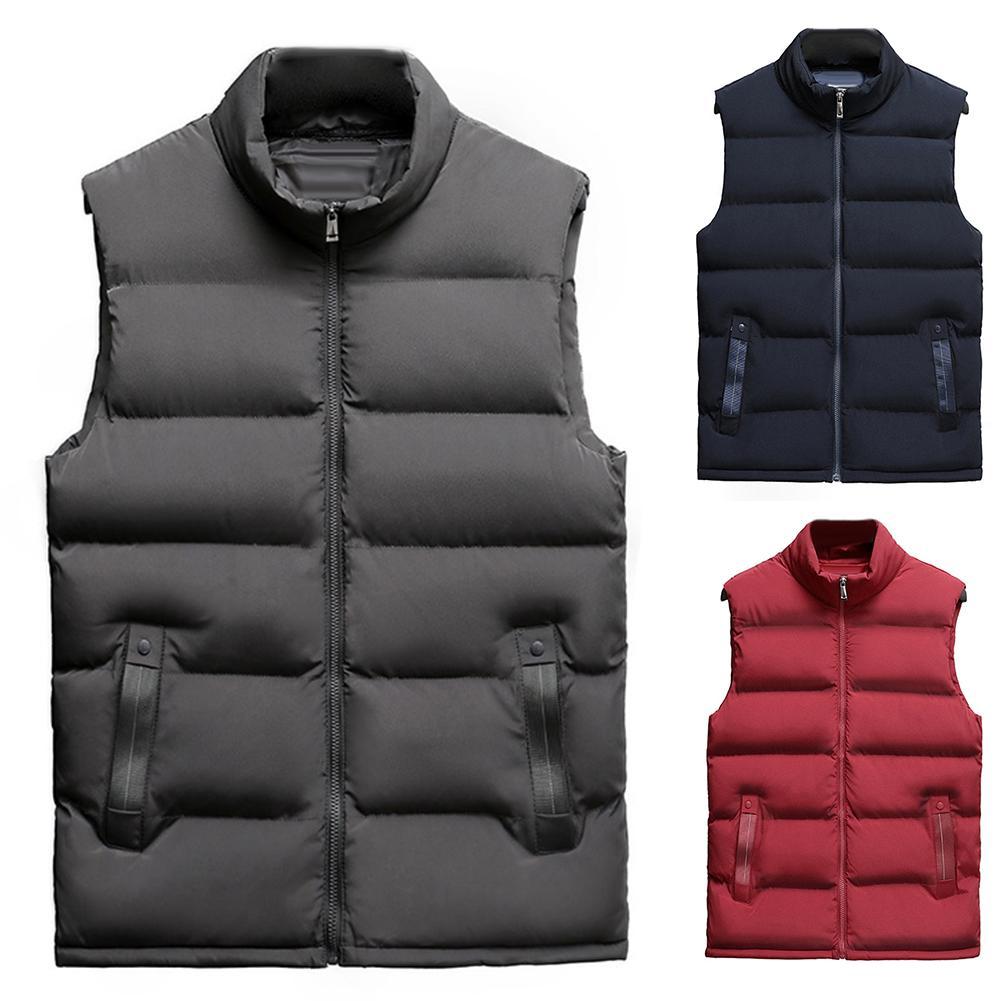 Casual Men Winter Stand Collar Pocket Zipper Vest Plus Size Thick Warm Waistcoat  Sleeveless Vest Men Cotton Thick Jacket