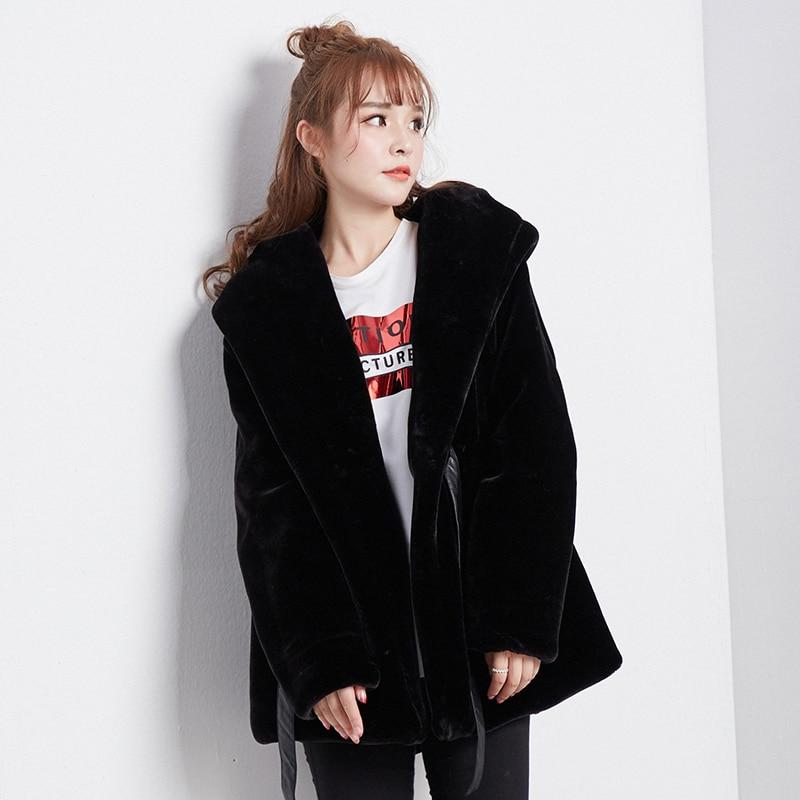 2020 Winter Faux Fur Coat Women Hooded Warm Korean Furry Fur Jacket Artificial Fur Coats And Jackets YKL-1325 KJ3607