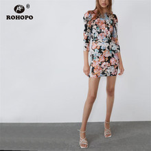 ROHOPO Long Sleeve Floral Round Collar Mini Dress Autumn Ladies Chic Straight Vestido #8980