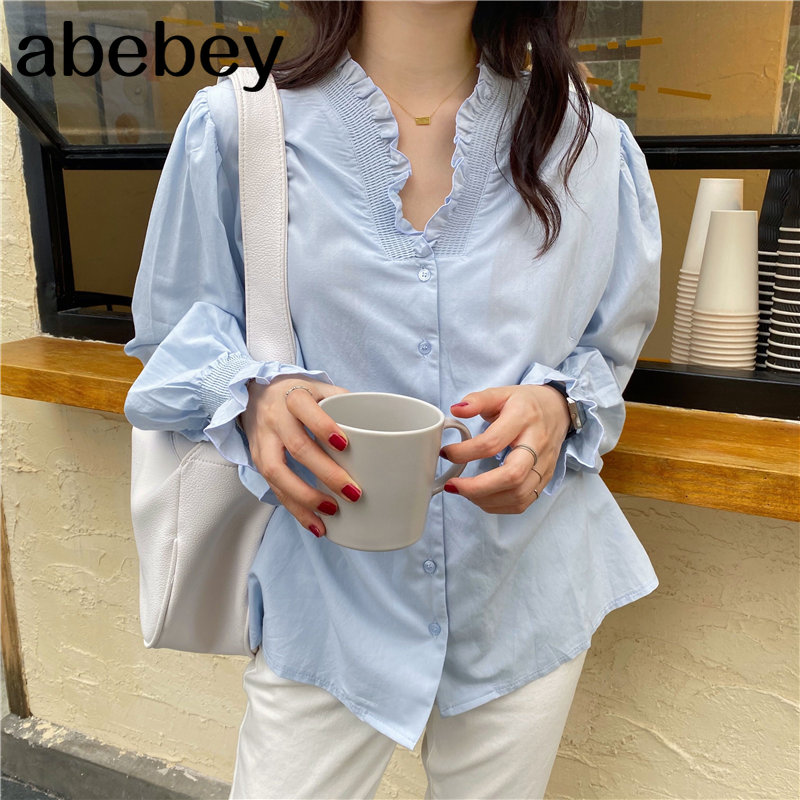 Blue All Match Sweet Women Casual High Quality 2020 Hot Streetwear Sweet Solid Blouses Cute Korean High Waist Shirts