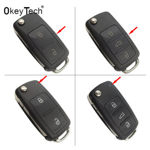 3 buttons Folding Car key Switchblade Key Flip key Shell for VW polo passat b5 Tiguan Golf VOLKSWAGEN Seat Skoda auto key blank(China)