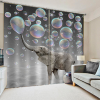 Customized size Luxury Blackout 3D Window Curtains For Living Room grey elephant curtains 3d stereoscopic curtain