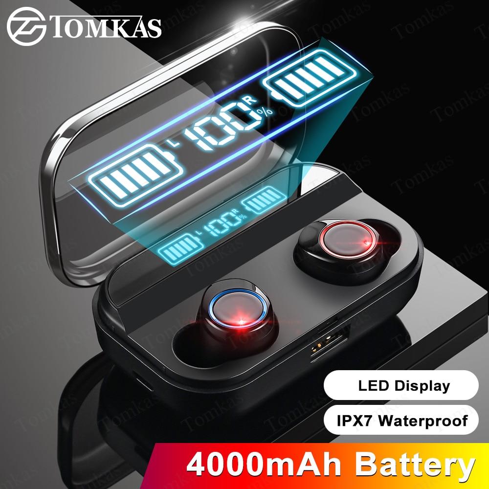TOMKAS 4000mAh TWS Wireless Earphone Bluetooth 5.0 Earphone Power  Display Touch Control Sport 9D Stereo Cordless Earbuds  HeadsetBluetooth Earphones