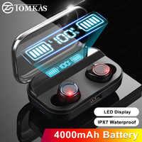 Tomkas 4000 mah tws fone de ouvido sem fio bluetooth 5.0 exibição energia controle toque esporte 9d estéreo sem fio fones de ouvido