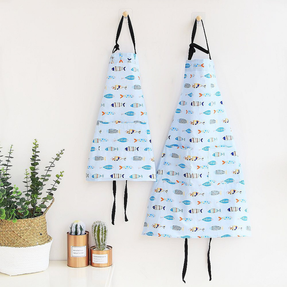INS Northern European-Style Parent And Child Work Clothes 100% Cotton Apron Waterproof Double Layer Home Wear Apron Coffee Shop