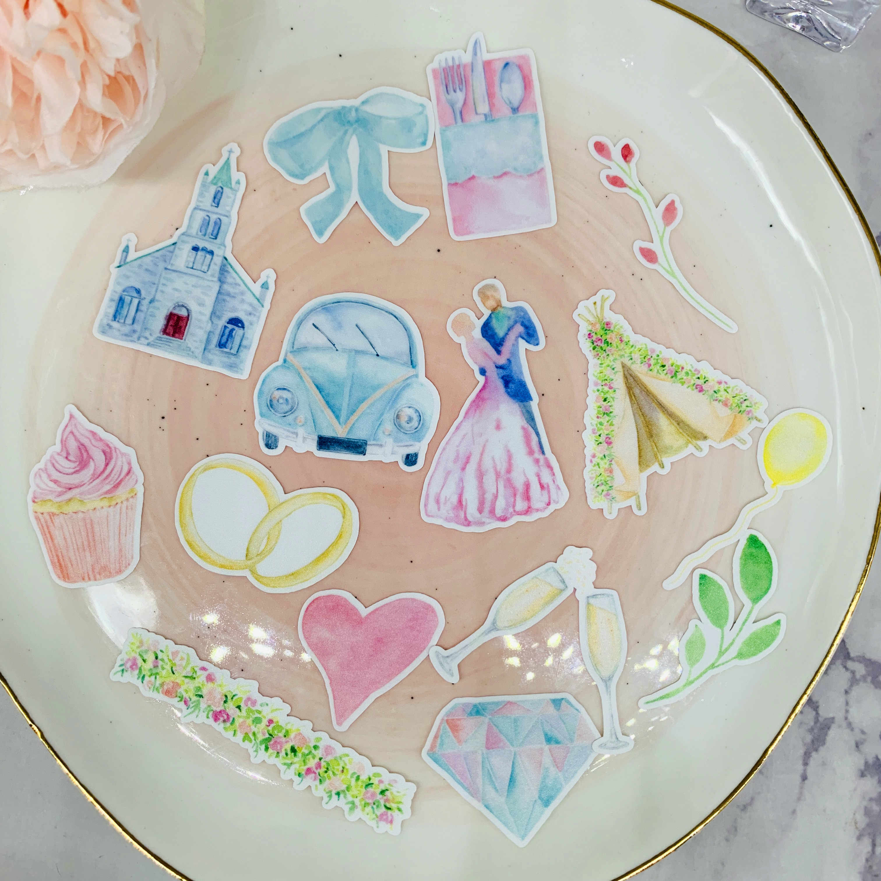 34 Buah Wedding Cake, Gereja Mobil Scrapbooking Stiker Buku Mahasiswa Label Dekoratif Stiker DIY Alat Tulis