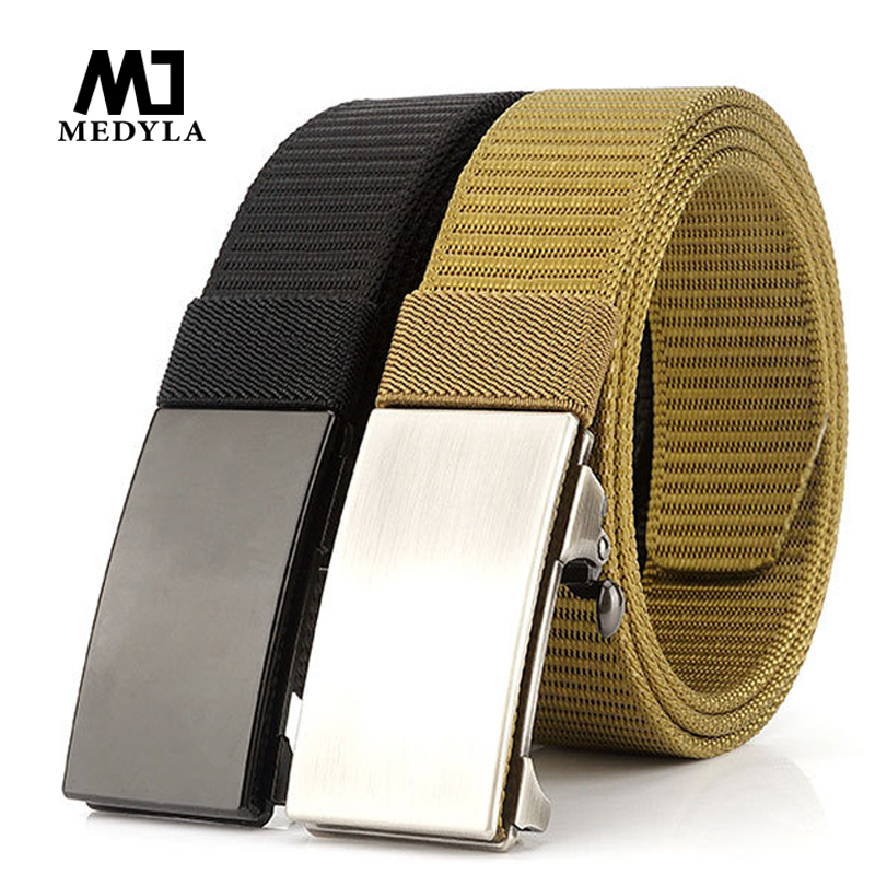 Medyla Brand Fashion Automatic Buckle Black Casual Canvas Belt Outdoor For Men Automatic Buckle Belt Casual Wild Jeans Belt