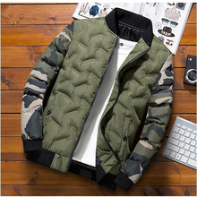 Men's Cotton-Padded Jacket Thermal Hunting Hiking Camping Camouflage Hide Stand Collar Coat Polyester Comfortable & Breathable