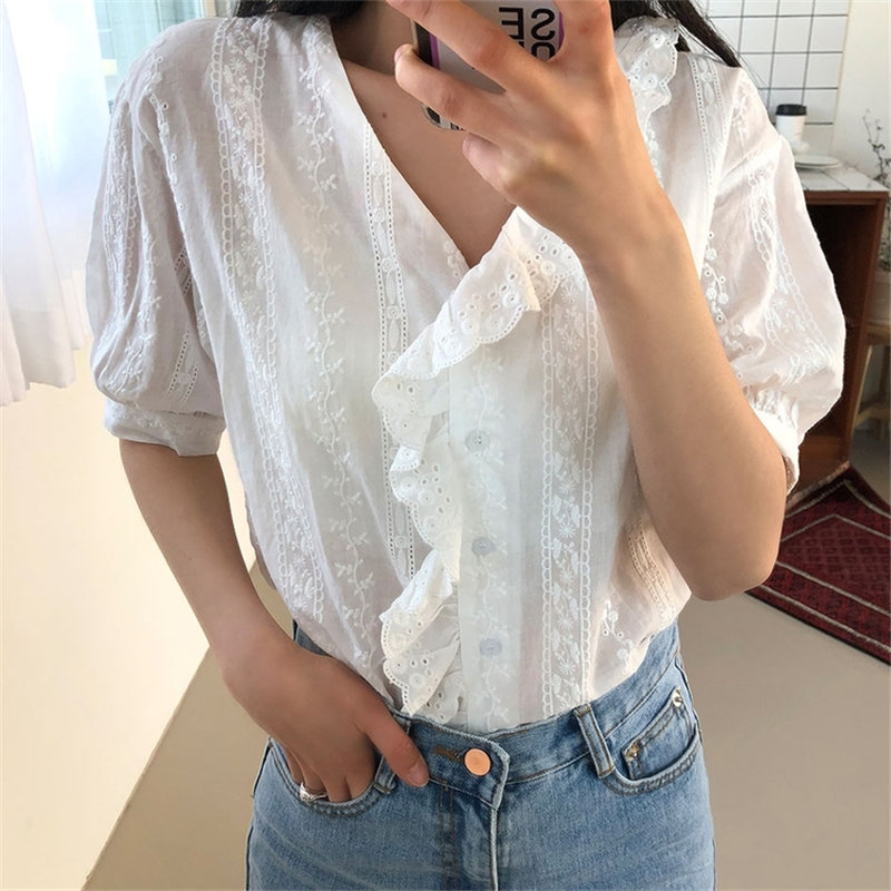Alien Kitty Summer White Chic Lace Ruffles Short Sleeves Tops 2020 Gentle Streetwear New All Match Loose Female Casual Shirts
