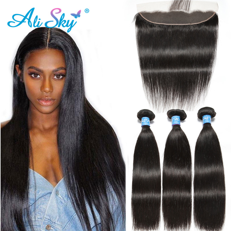 Alisky Brazilian Remy Hair Weave Bundles With Frontal Straight Hair Bundles With Frontal PrePlucked 13X4Lace Frontal With Bundle