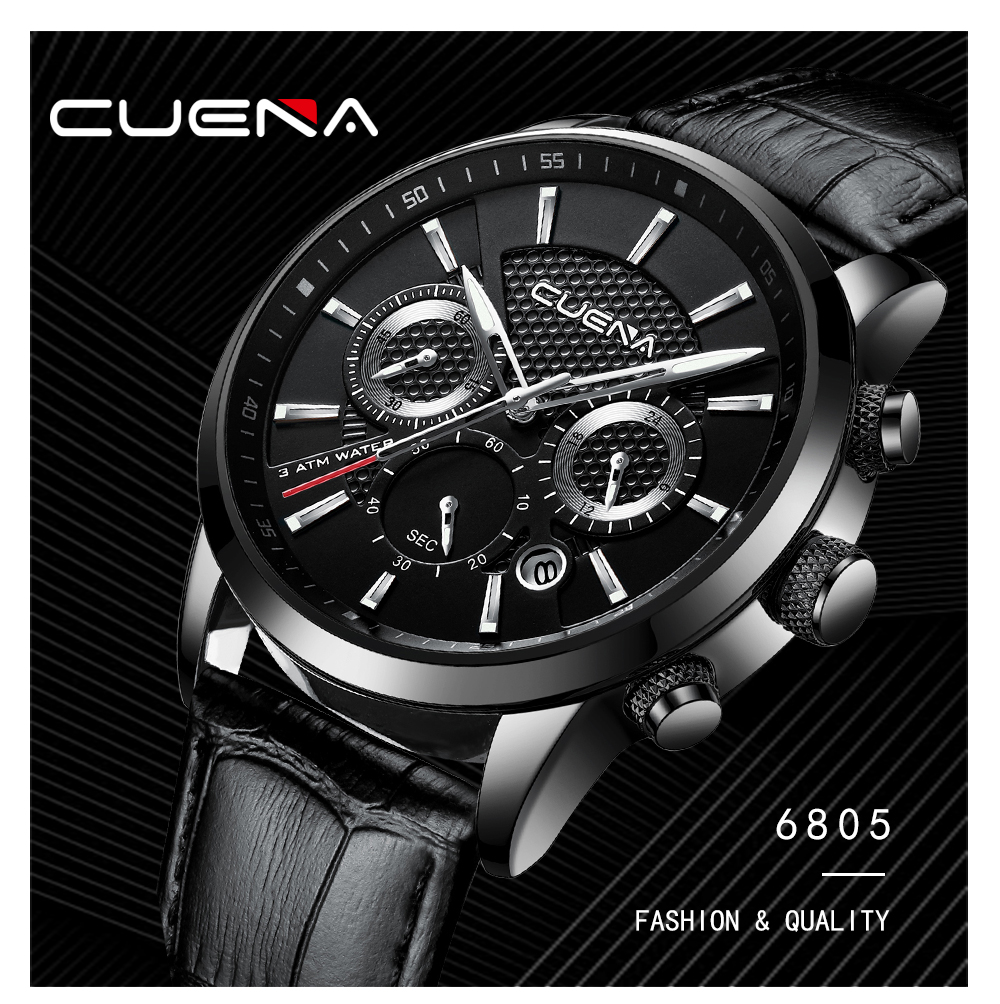 CUENA Mens Watches Luminous Leather Waterproof Clock Man Quartz Men Fashion Sport Watch Relogio Masculino