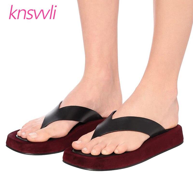 Flip Flops Women Thick Sole Beach Shoes Leather Platform Shoes Woman Slides Mixed Color Sandals Women Slippers Zapatos De Mujer