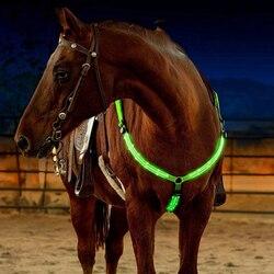 LED الحصان تسخير الرسن الصدر طوق اللجام الحصان طوق أضواء الفروسية سلامة والعتاد ركوب الخيل في ليلة طويلة المدى
