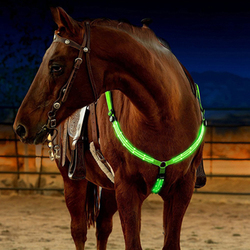 LED Horse Harness Halter Breastplate Collar Bridle Horse Collar Lights Equestrian Safety Gear Horse Riding In Night Long Range