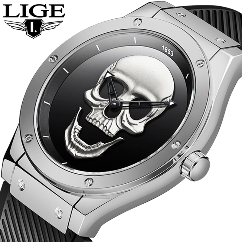 New Cool Punk 3D Skull Men Watch LIGE Brand Luxury Silicagel Quartz Male Watches Waterproof Retro Fashion Creative Clock Relogio|Quartz Watches| |  - title=