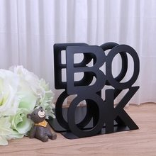 Alphabet Shaped Metal Bookends Iron Support Holder Desk Stands For Books   X6HB