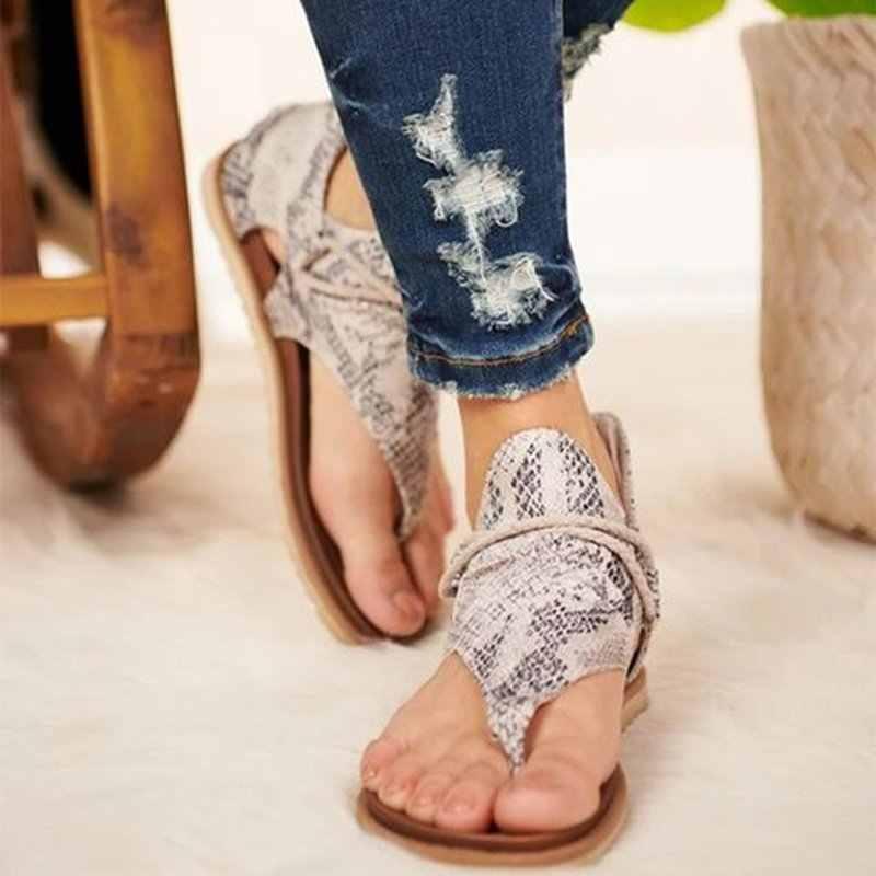 Kadın yaz sandalet Flats ayakkabı kadın PU deri Zapatos De Mujer rahat bayan ayakkabı Bohemia Sandalias Sapato Feminino 2020