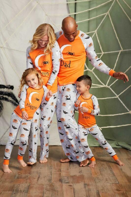 Outfits Pajamas Pumpkin Nightshirt Halloween-Nightgown Orange Daughter Sleep-Shirt Matching