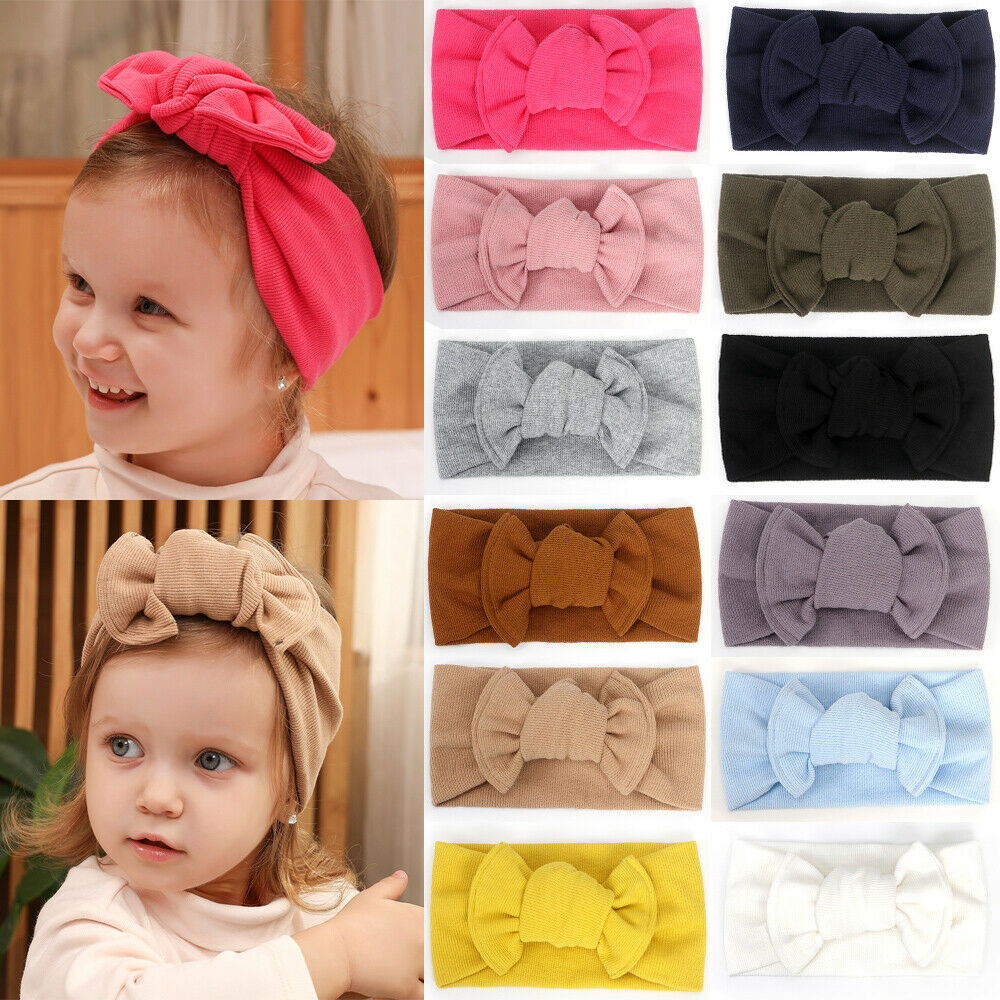Cute Solid Kid Girl Toddler Crochet Bow Headband Hair Band Accessories Winter 1x