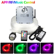 Kit de plafond à effet ciel étoilé LED Fiber optique scintillante RGB 32W, 0.75mm x 800/1000 pièces, avec contrôle de Mode musical
