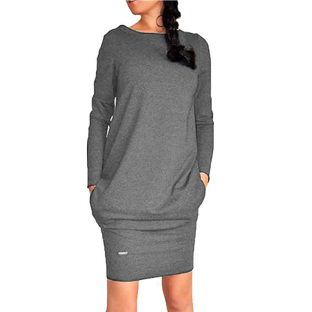 Female Autumn Long Sleeve Dress With Pockets Casual O-Neck Pure Color Clothing 2020 Fashion Gray Black Knee-length Dresses  2XL 2