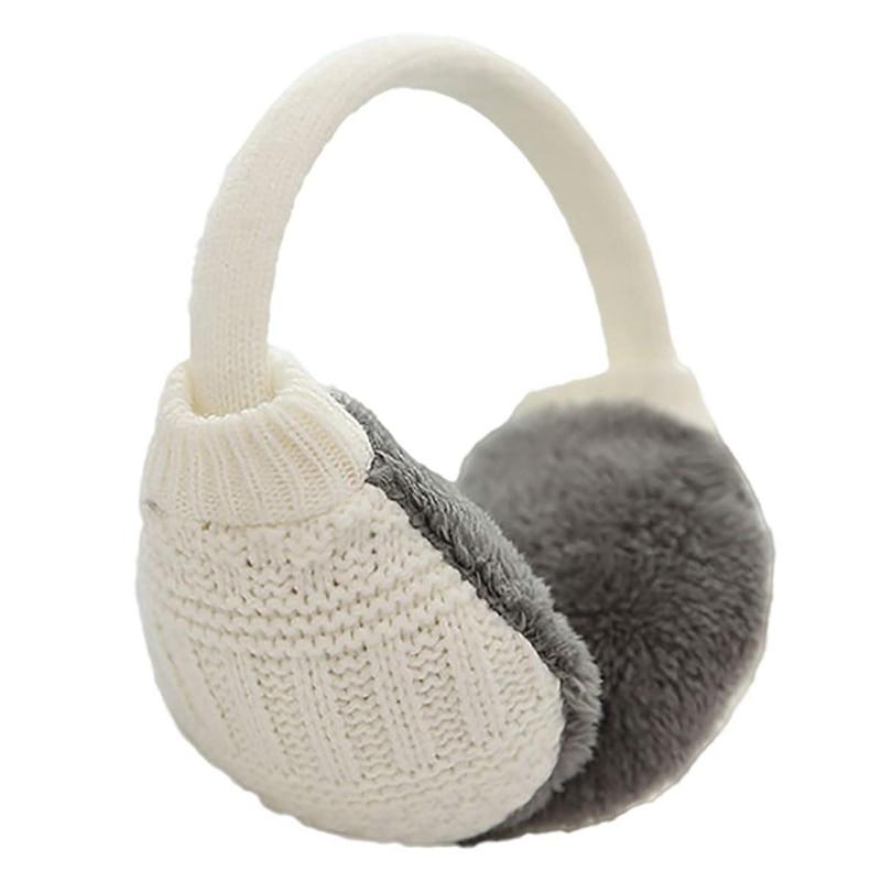 JHD-Unisex Knitted Earmuffs Artificial Furry Earmuffs Winter Outdoor Travel Earmuffs