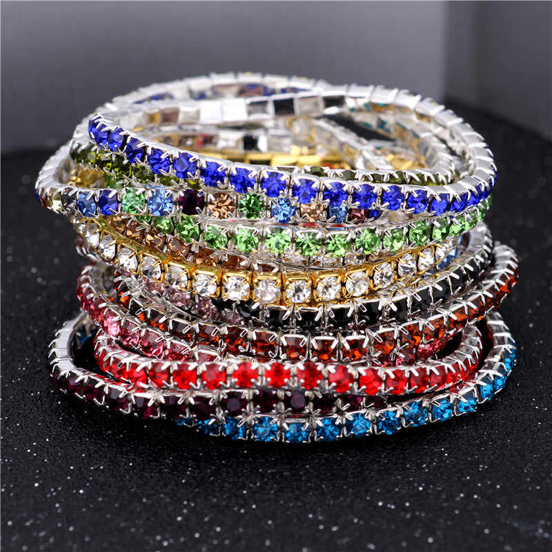 2020 New fashion rhinestone single row bracelet female bracelet  Crystal  braceler