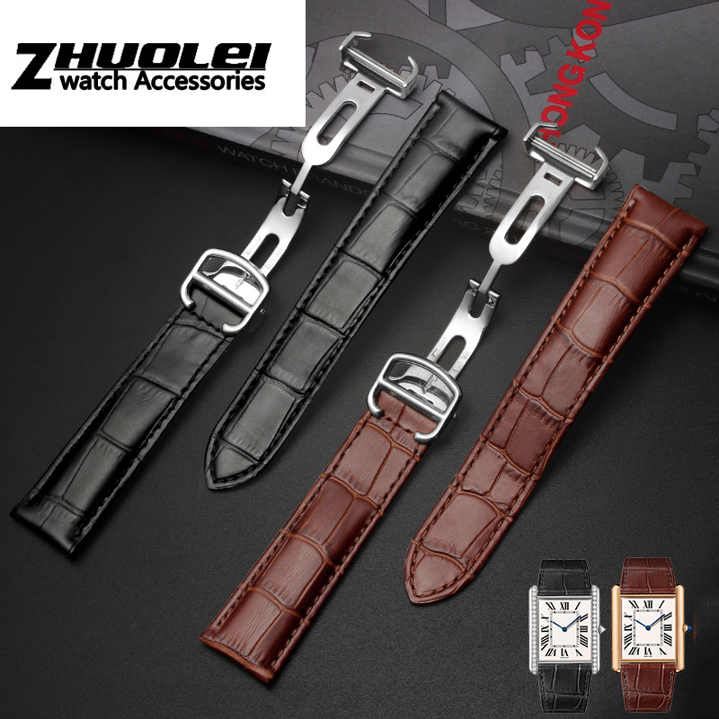 high Quality Black Brown Genuine Leather Watchband with Folding buckle for Cartier tank 16 17 18 20 22 23 24 25mm straps