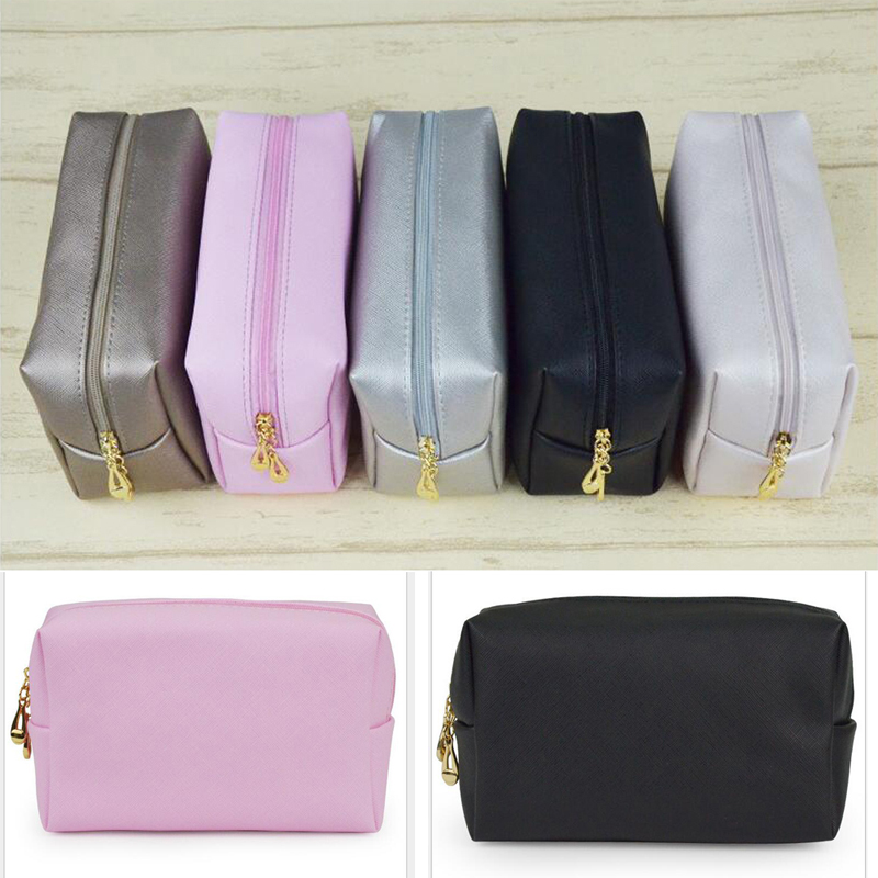 Portable Durable High Quality PU Leather Cosmetic Beauty Makeup Bag Case Organizer Travel  Zipper Toiletry Bags