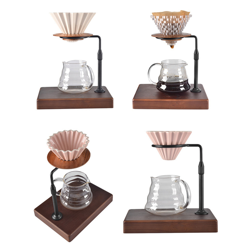 Coffee Filter Holder Wood Base Adjustable Ceramic Origami Style Espresso Filter Cup V60 Funnel Drip Hand Cup Filters For Barista