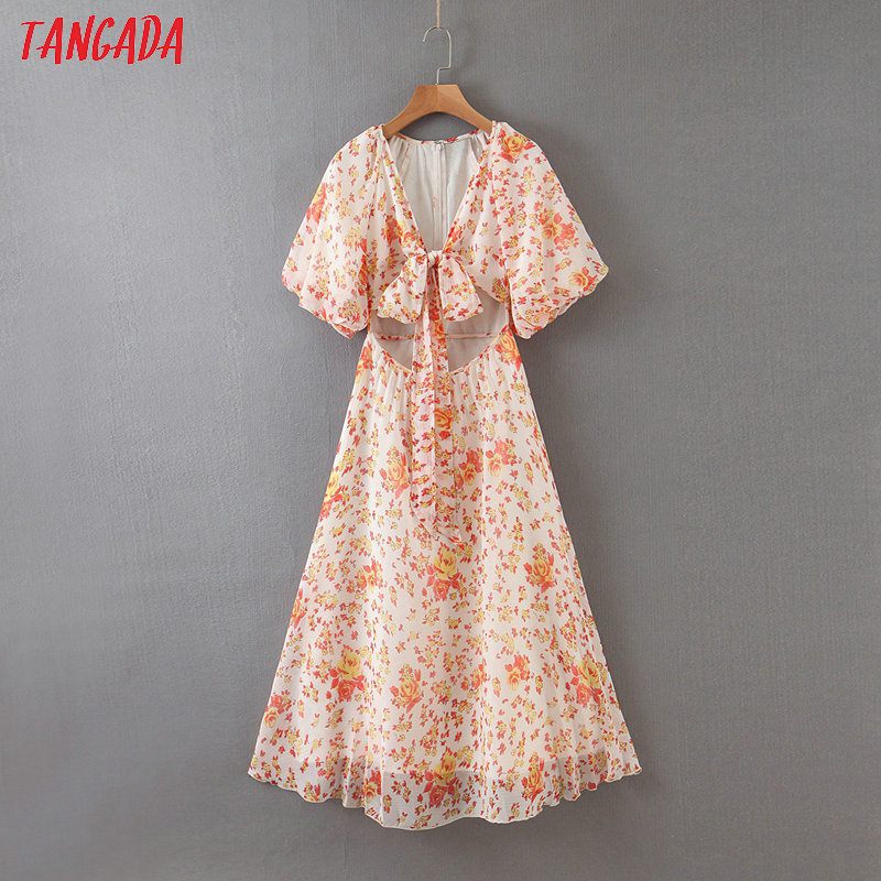 Tangada Fashion Womenprint Waist Hole Beach Dress V Neck Short Sleeve Ladies Vintage Chiffon Dress Vestido QB144
