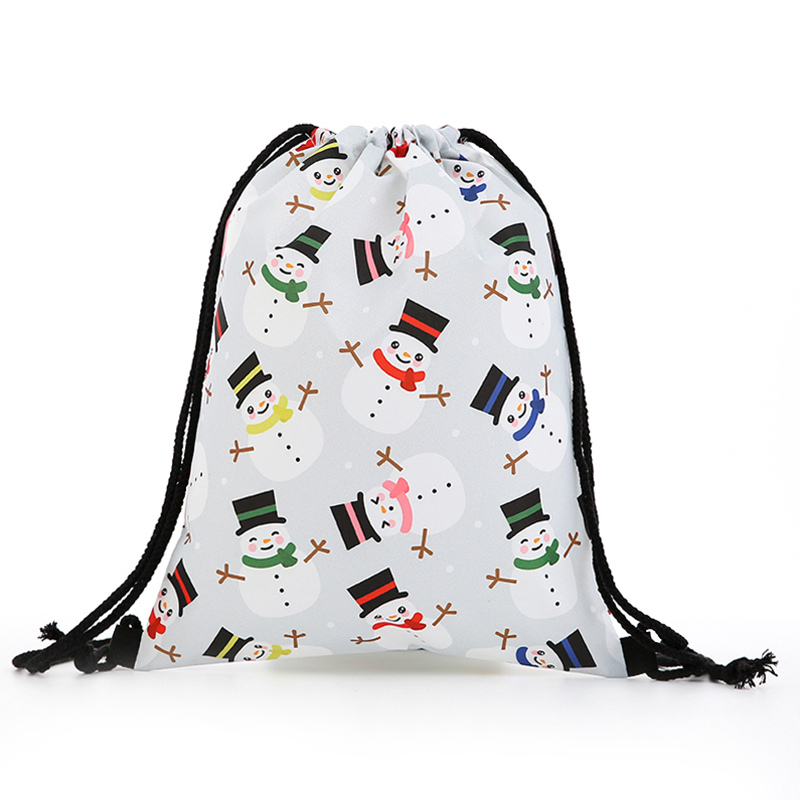 Backpack Fashion Women Mini Drawstring Christmas Backpack 3D Printing Travel Softback Bags Men Drawstring Bag Female Deer New
