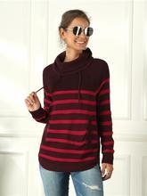 Пуловер Женский свободного покроя с высоким воротником Осень