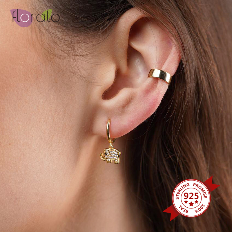 High-Quality 925 Sterling Silver Animal Earrings for Women Cute Gold Silver color Elephant Huggie Hoop Earrings Fashion Jewelry