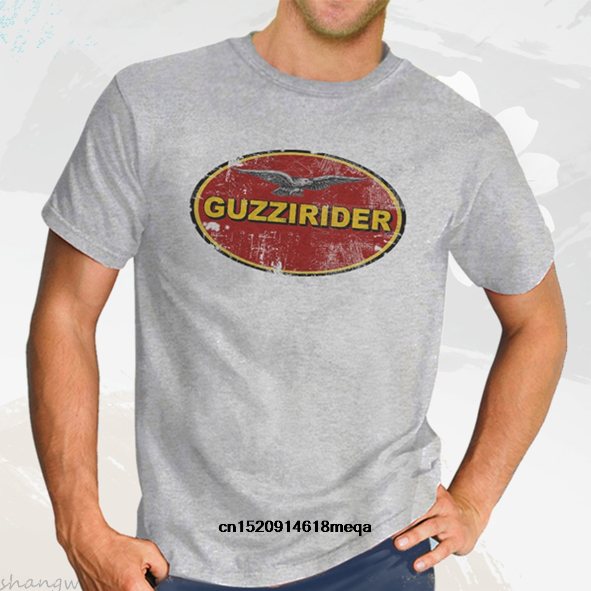 Guzzi Rider Italian Moto Guzzi Tee Shirt Men's Round Neck Short Sleeves Cotton T-shirt in Grey Motorbike Cafe Racer