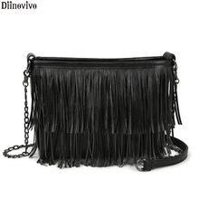 Diinovivo модные сумки через плечо с кисточками для женщин Черная