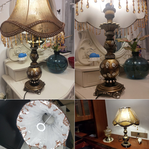 Image 5 - モダンな装飾樹脂テーブルランプの寝室の家の装飾の寝具装飾ブロンズベースデスクライトヨーロッパテーブル器具生地シェード