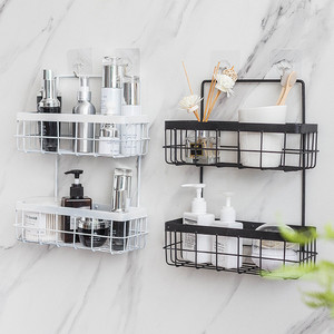 Image 5 - Eisen Lagerung Rack Veranstalter Doppel Schicht Wand Hängen Rack Bad Shampoo Dusche Regal Wand Halter Küche Lagerung Körbe
