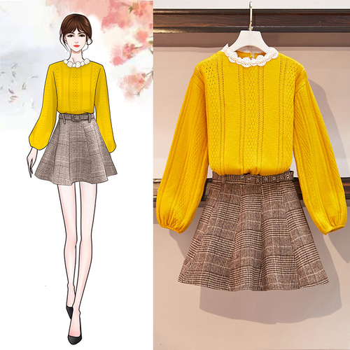 Sweater Fall And Winter Lace Collor Lantern Sleeve Knit Lattice Grid Woolen Skirt Women 2 Pcs Clothing Set Knitted Outfit